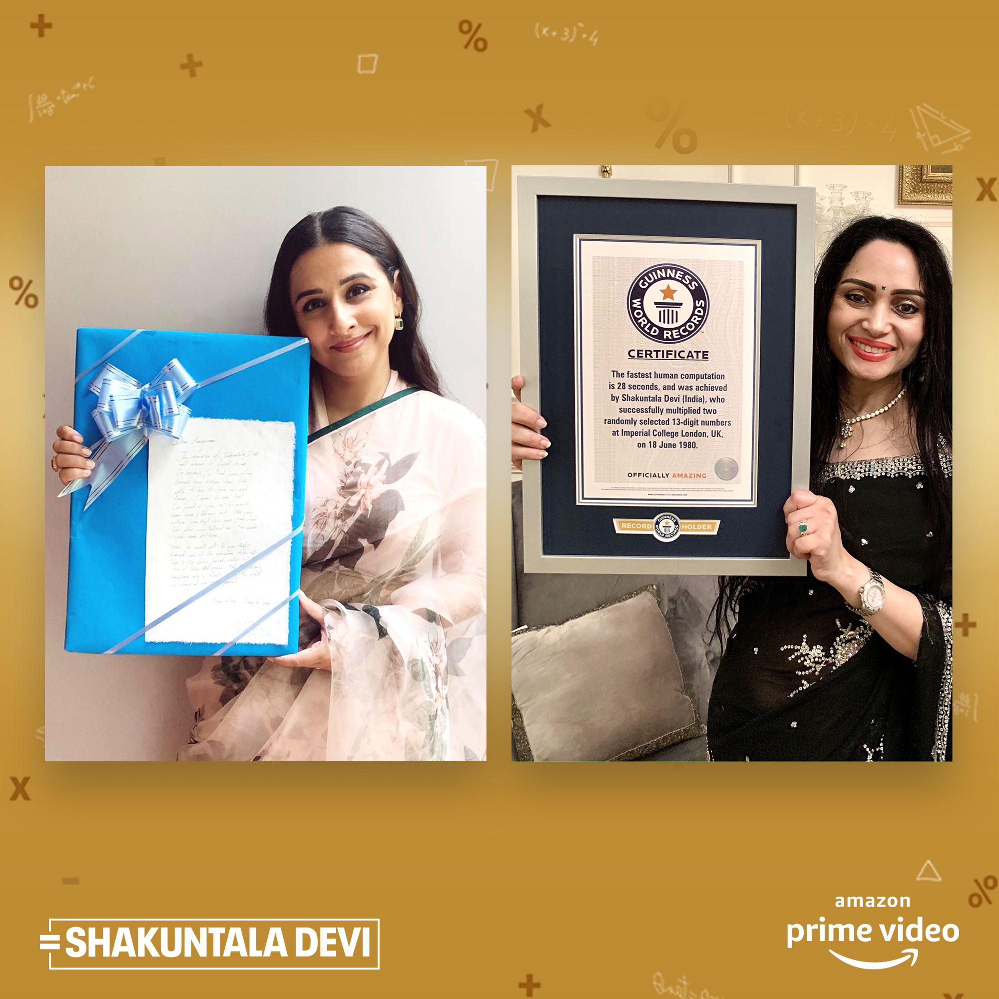 AHEAD OF THE RELEASE OF SHAKUNTALA DEVI', GUINNESS WORLD RECORDSTM AWARDS CERTIFICATE TO THE LATE SHAKUNTALA DEVI FOR 'FASTEST HUMAN COMPUTATION'