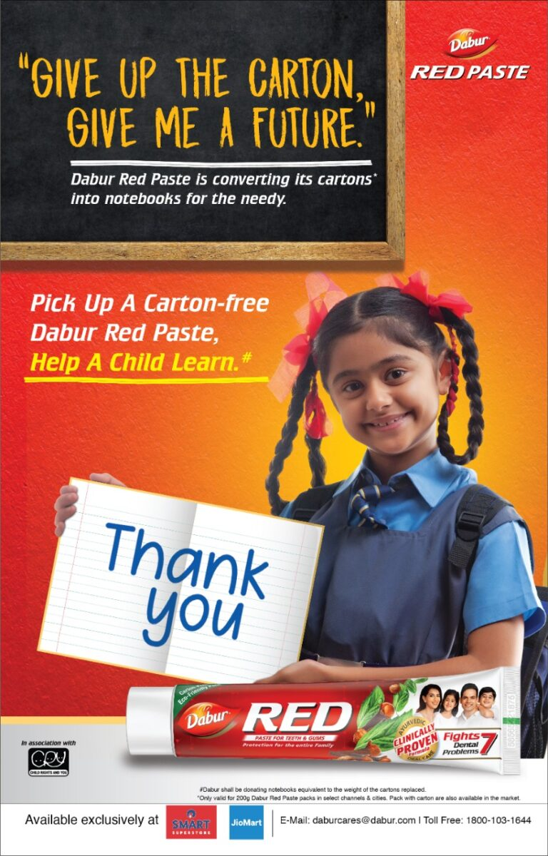Dabur Red Paste says No to Paper Cartons; Supports Eco-Friendly Packaging