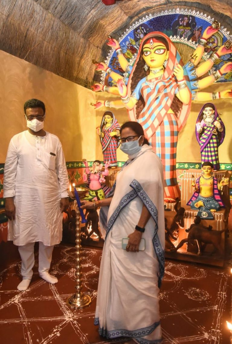 Mamata Banerjee inaugurated Bhowanipur 75 Palli Durga Puja with its theme 'MANOBIK' to uplift the morale of the internationally acclaimed 'Chhau Dancers' from Purulia District of West Bengal